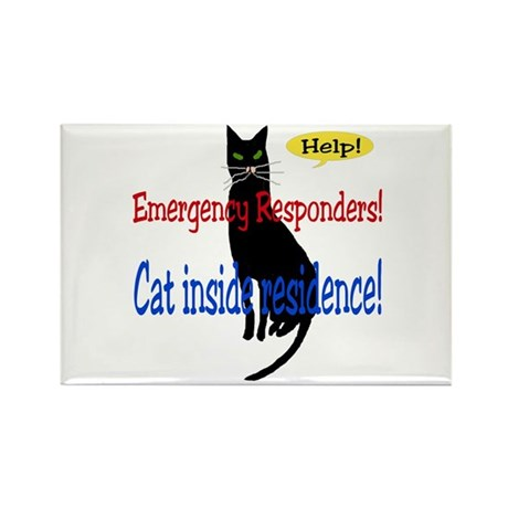 Single Cat Alert Rectangle Magnet