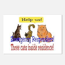 Three Cat Alert Postcards (Package of 8)