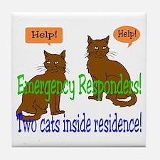 Two Cat Alert Tile Coaster
