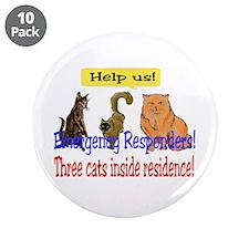 "Three Cat Alert 3.5"" Button (10 pack)"