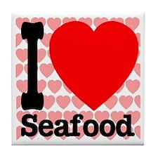 I Love Seafood Tile Coaster