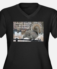 Squirrel Bird two Women's Plus Size V-Neck Dark T-