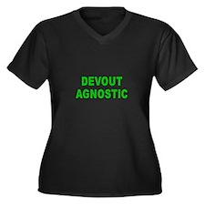 DEVOUT AGNOSTIC Women's Plus Size V-Neck Dark T-Sh