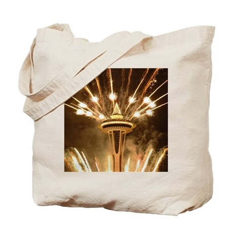 Space Needle Seattle Fireworks Tote Bag