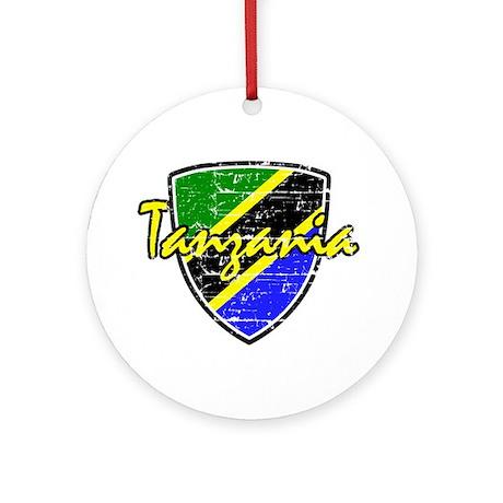 Tanzanian distressed Flag Ornament (Round)