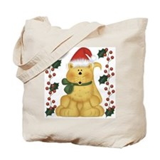 Cat And Holly Christmas Tote Bag