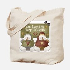 Our Love Will Keep Us Warm Christmas Tote Bag