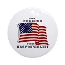 With Freedom(Flag) Ornament (Round)