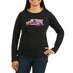Flag & Dolphin Women's Long Sleeve Dark T-Shir