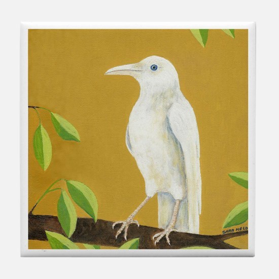 Albino Crow Tile Coaster