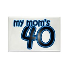 Mom Is 40 & Blue Rectangle Magnet