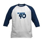 Mom Is 40 & Blue Kids Baseball Jersey