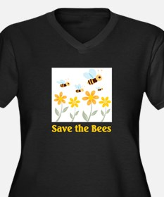 Save the Bees Women's Plus Size V-Neck Dark T-Shir