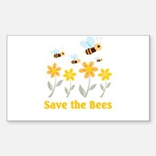 Save the Bees Rectangle Sticker 10 pk)