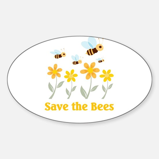 Save the Bees Oval Decal