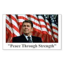 "Reagan ""Peace Through Strength"" Sticker (Rectangul"