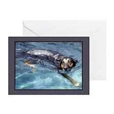 Pool Swim 2 w/border Dog Card blank/pk6