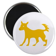 Yellow Dog Silhouette Magnet