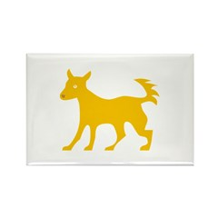 Yellow Dog Silhouette Rectangle Magnet (100 pack)