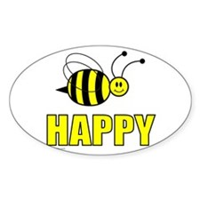 BEE HAPPY Oval Decal