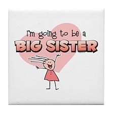 Stick Girl Future Big Sister Tile Coaster