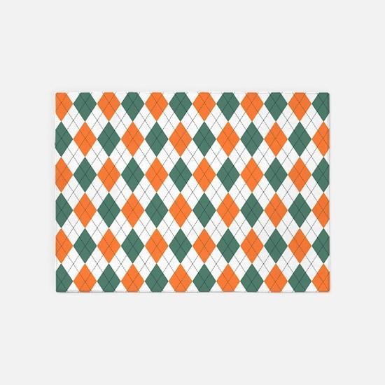 Green & Orange: Argyle Pattern 5'x7'Area Rug