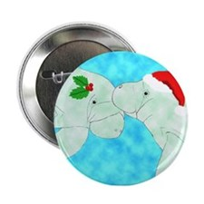 Christmas Manatees Button