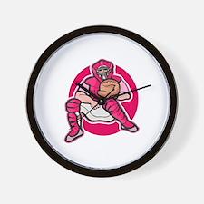Pink Softball Catcher Wall Clock