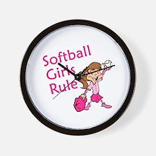 Softball girls Rule Wall Clock