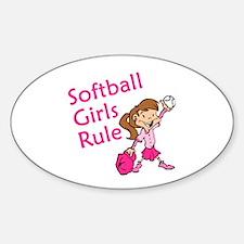 Softball girls Rule Oval Decal