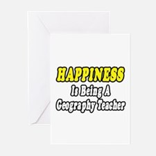 """""""Happiness:Geography Teacher"""" Greeting Cards (Pk o"""