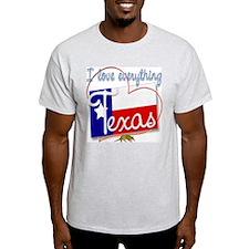 I Love Everything Texas Ash Grey T-Shirt