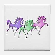 Stylized Horse Trio Tile Coaster