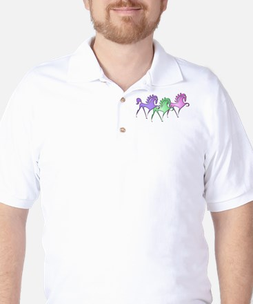 Stylized Horse Trio Golf Shirt