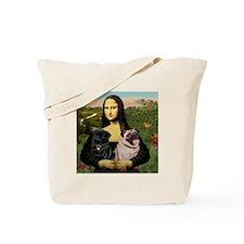 Mona & her 2 Pugs Tote Bag