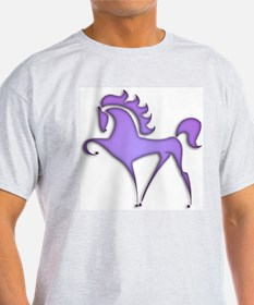 Stylized Horse (purple) Ash Grey T-Shirt
