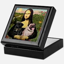 Mona & her 2 Pugs Keepsake Box
