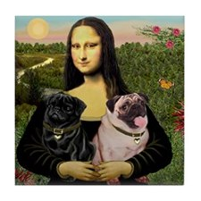 Mona & her 2 Pugs Tile Coaster
