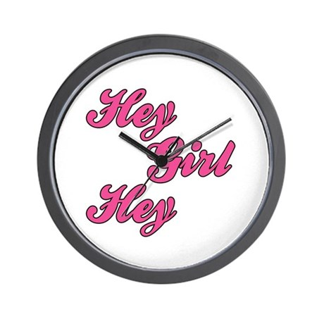 Sporty Font Hey Girl Hey Wall Clock
