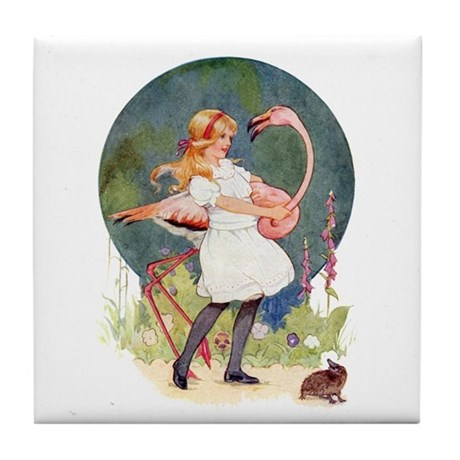FLAMINGO CROQUET Tile Coaster