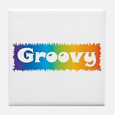 Groovy cl block Tile Coaster