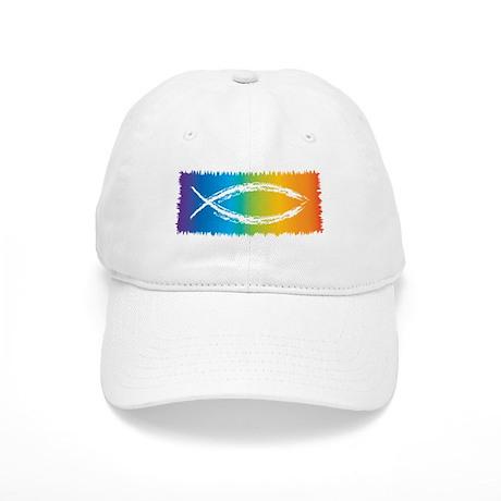 Retro jesus fish baseball cap by davetdesigns for White cap fish