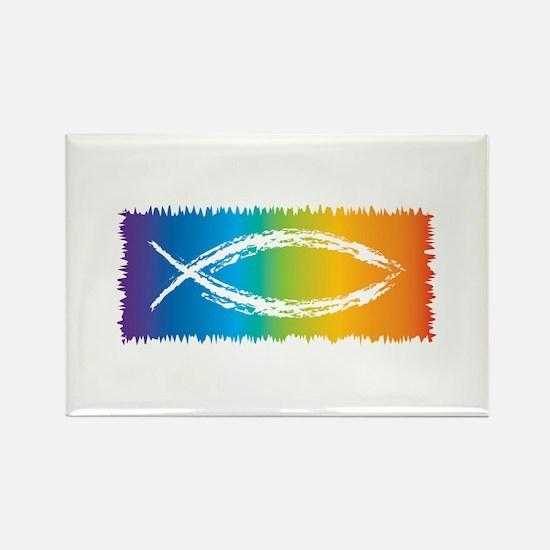 Retro Jesus Fish Rectangle Magnet