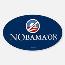 2 NoBama 08 Oval Decal