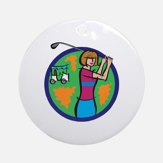 Woman Golfer Ornament (Round)
