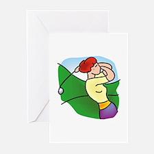 Woman Golfer Swinging Greeting Cards (Pk of 10)