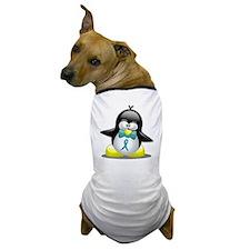 Teal Ribbon Penguin Dog T-Shirt