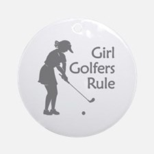Girl Golfers Rule Ornament (Round)