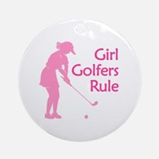 Girl Golfers Rule Ornament (Round)