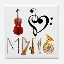 I Love Music Tile Coaster